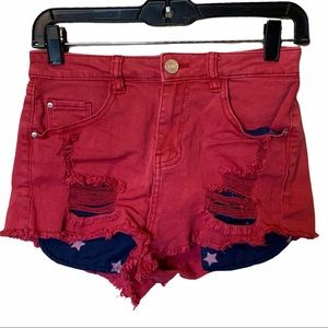 Refuge red shorts with blue and white stars 0